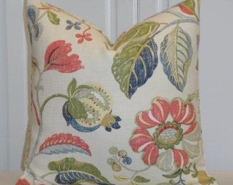 BOTH SIDES - Decorative Pillow Cover  - Throw Pillow - Accent Pillow - Coral - Blue - Green - Red -Yellow