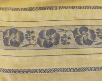 Vintage Blue And White Damask Luncheon Tablecloth With Pansy Print Design