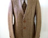 Vintage 60s 70s Men's Brown Tweed Flecked Norfolk Sport Coat by DAKS - Brown Fleck Wool Mens Blazer Jacket  - Tweed Norfolk Coat - Small