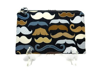 Mustache Zipper Pouch, Black Pouch, Cosmetic Bag, Makeup Bag Pouch, Mustache Pencil Pouch, Fabric Zip Bag, Cotton Zipper Bag