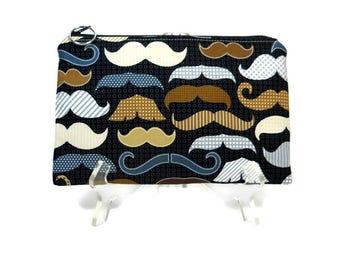 Mustache Zipper Pouch, Black Pouch, Cosmetic Bag, Makeup Bag Pouch, Mustache Pencil Pouch, Fabric Zip Bag, Cotton Zipper Bag