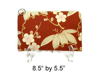 Cherry Blossom Zipper Pouch, Pencil Pouch, Spring Accessory Bag, Gadget Case, E-Cig Case, Rust Cream Zip Bag, Padded Pouch, Purse Pouch