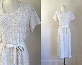 vintage 1970s crochet dress - FROST white open knit dress / L