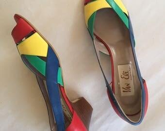 vintage leather shoes- VAN ELI rainbow heels  / sz 7