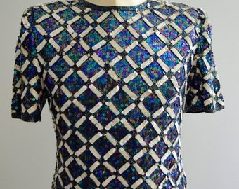 Sale 20% OFF Vintage Laurence Kazar Mosaic Sequined Beaded Silk Multicolor and White Top Blouse