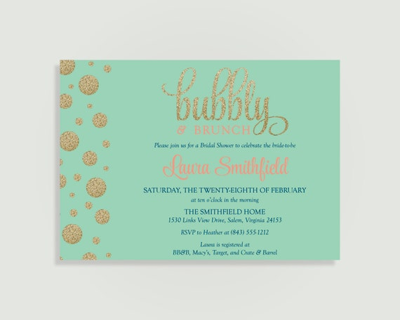Bubbly and brunch bridal shower invitation champagne for Champagne brunch bridal shower