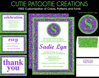Bat Mitzvah Invitations Lime Green and Purple - Sweet 16 Invitation - Quinceanera Invitations - Wedding Invitations - Use for ANY EVENT