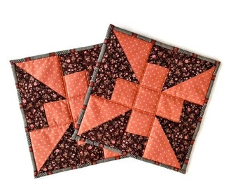 """Quilted Potholders  / Quilted Hot Pads / Quilted Trivets / Quilted Mug Rugs / Quilted Candle Mats– 9-3/4"""" x 9-3/4"""" - Set of 2 – Brown, Rust"""