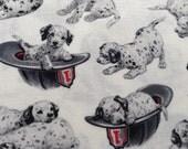 Dalmatian Dog Fabric, Fireman Hats, 100% Cotton Quilting Fabric, By The Yard, Fireman Fabric, Dog Fabric, Dalmatian Dogs