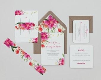 Bright Pink Floral Wedding Invitations,Tropical Floral Wedding Invitations,Fushia Wedding Invites, Pink Boho Floral Wedding Invitations