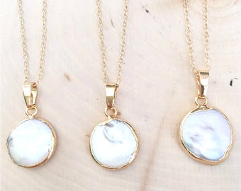 Mother of Pearl Layering Boho Bridal Necklace w/ 14K Gold Filled Chain