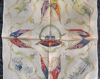 Vintage 1930's UK Commonwealth Silk Handkerchief Souvenir for Fothcoming Coronation of King Edward VIII 12th May 1937 Photo Prop