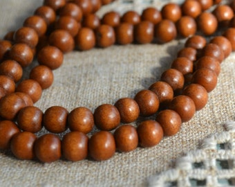 66pcs 12mm Light Brown Wood Natural Beads Round Macrame Bead