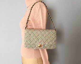 90s boucle quilted purse | chain handle purse