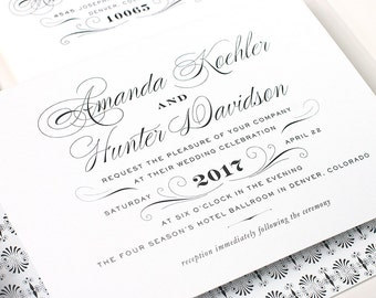 Classic Wedding Invitation, Black and White Wedding Invitation,  Elegant Wedding, Formal Wedding Invite - Flat Printed - Derriery - SAMPLE