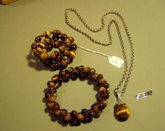 Vintage Sterling Silver Tigers Eye Pendant Necklace 2 Bracelets 1 By Lee Sands 925 Spacers  8928