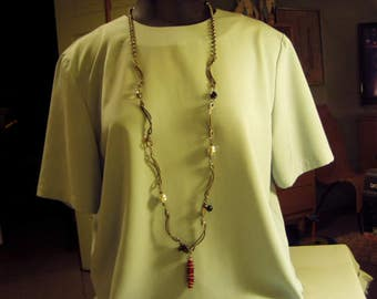 "Vintage Silver Plated Heavy Link 46"" Necklace With Glass Beads & Pendant  9170"