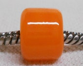 European Style Large Hole Charm Bead Handmade Lampwork Bead Orange Cylinder Bead