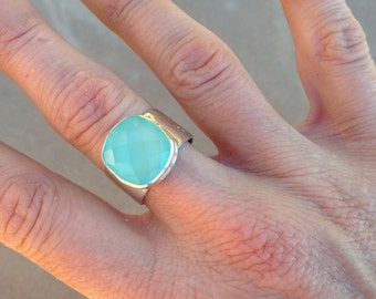 Chrysoprase statement ring