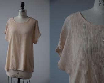 Vintage 90s Crinkle Nude Cap Sleeve Minimalist Top Blouse M