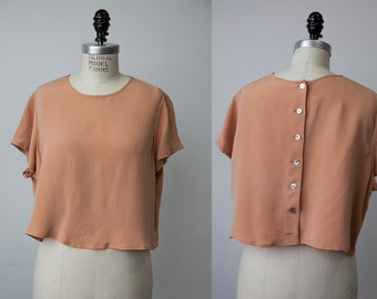 Vintage 90s Peach Nude SILK Cropped T-shirt Short Sleeve Blouse Loose Boxy Fit M