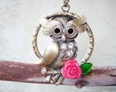 Owl Necklace - Vintage style owl with rose