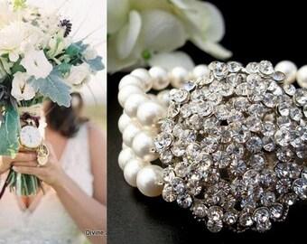 ivory swarovski pearl and crystal Bracelet Statement Bridal Bracelet Bridal Cuff Wedding Rhinestone Bracelet swarovski pearl VANESSA