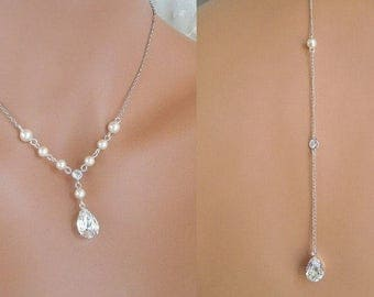 Backdrop Pearl Necklace Bridal Wedding Rhinestone Necklace Ivory Pearls Bridal Pearl Necklace Swarovski Rhinestone Necklace Pearl LAYLA