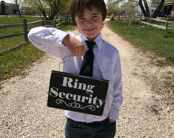 Ring Security Wedding  Sign- Wood Wedding Sign - Ring Bearer Sign- Trendy Wedding Sign - Rustic Wedding - Kids Wedding Sign