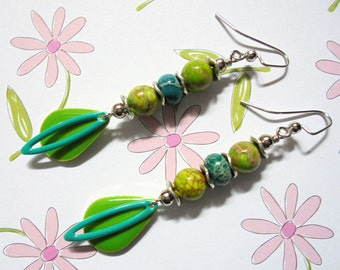 Lime Green and Aqua Boho Earrings (3366)
