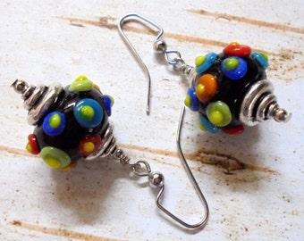 Rainbow Spotted Black Lampwork Earrings (3377)