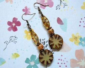 Rustic Brown and Ivory Picasso Sunburst Earrings (3581)