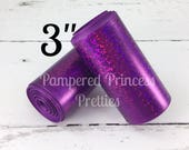 "3yd 3"" Solid Laser Foil Ribbon, Holographic Foil Ribbon, Solid PURPLE Laser Ribbon"