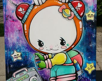 Ella The Space Bunny Original Lowbrow Art Painting Large 24x30 Inches Toddler Kids Girls Room Nursery Bright Stars and Space Cute Astronaut