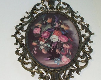 Vintage Metal Frame Wall Hanging Picture Made Italy Ornate Framed Print Floral Wall Art 417