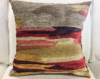 """Designer Red, Taupe, Gray and Gold Abstract Watercolor Velvet Pillow Cover- Watercolor Pillow Cover- 20"""" Finshed Cover"""