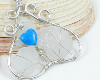 Sea Glass Paw Print with Blue Heart Sun Catcher Suncatcher White Dog Cat