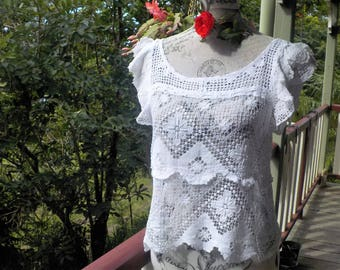 RESERVED //white lace top - mex - deco - alternative blouse - s / medium