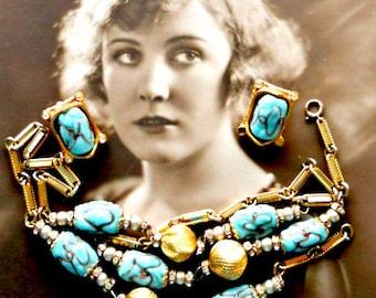 Mid Century Lampwork Bead Art Glass Necklace Earring Set Demi Parure Glass Gold Tone Metal and Rhinestones