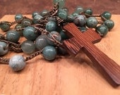 RESERVED for Kayla African Jasper Stones with wooden cross pendant