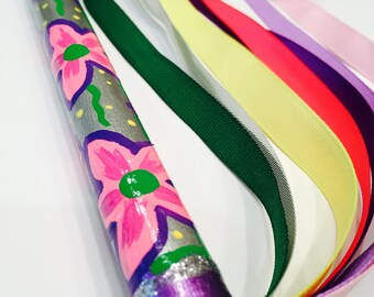 Flower girl wand Hand Painted Unique Fun Ribbon Dancing Playing Pretending Wand Best Girl Gift Princess Fairy under fifteen dollars