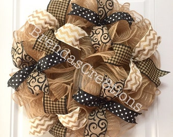 Everyday Wreath, Home Decor, Wreaths for Front Door, Mesh Wreath, Gift For Couple, Outdoor Wall Decor, Wreaths and Swags, Welcome Wreath