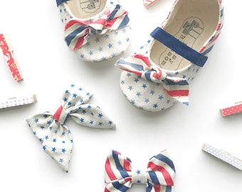 4th of July Baby Shoes, American Flag Baby Shoes, Patriotic Toddler Shoes, Red White and Blue Baby Shoes, Soft Sole Shoes, Striped Shoes