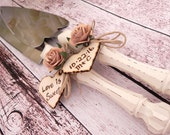 Rustic Chic Wedding Cake Server And Knife Set, Cream with a Mocha Flower, Personalized Wood Hearts, Bridal Shower Gift, Wedding Gift