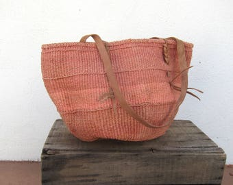 80s African Tote Woven Pink Stripe Raffia Ethnic Bucket Sisal Bag w/ Leather Trim