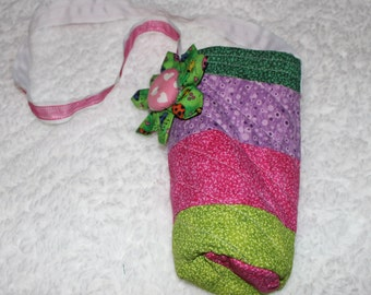 Handmade fabric Water Soda Bottle Tote Bag Carrier