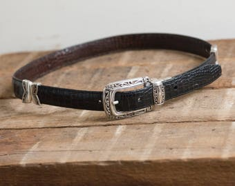 29-33 women's leather black and brown reversible western belt with silver tone buckle - faux croc - vintage brighton medium
