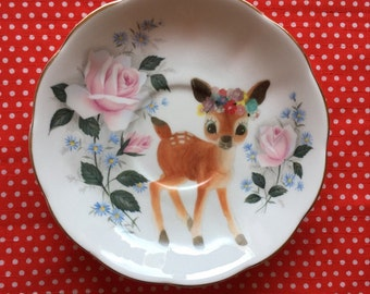 Flower Deer with Pink Roses Illustrated Vintage Plate