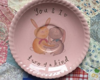 Bunny Hugs Two of a Kind Illustrated Vintage Plate