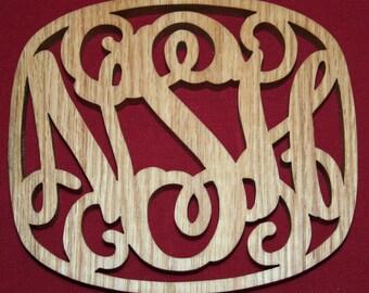 """WOOD TRIVET Hand Cut in 1/2"""" Solid Oak, Hot Platter Holder, Hot Pan Holder"""